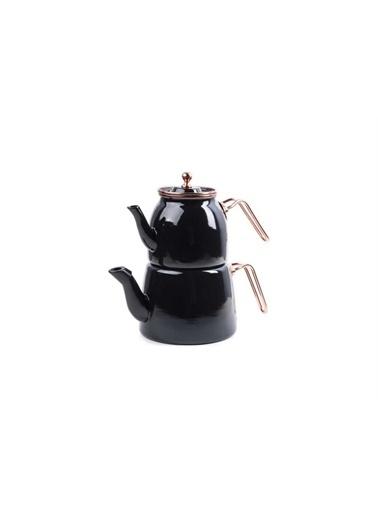 Sembol Emaye Alt/Üst Çaydanlık-Siyah Bakır Renkli